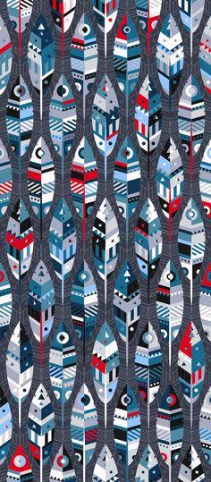 Russfussuk 'SoarTwo' D3B #pattern #patterndesign #surfacepattern #patternprint #feather #bird #aztec #generative #geometria #padrões #russfussuk