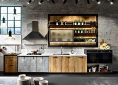 contemporary kitchen interiors and kitchen furniture in industrial style