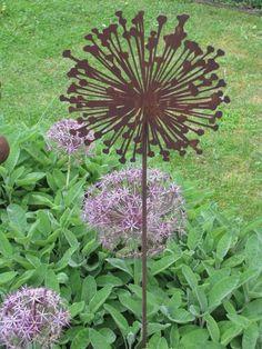 Gut Details Zu Edelrost Gartenstecker Zierlauch (Allium) Metall Gartenstab  Dekostab