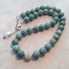 Green Riverstone Necklace by SharonKrug on Etsy