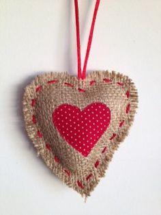 Hessian Heart Christmas Decoration. $4.00, via Etsy.