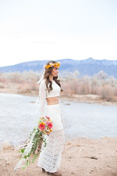 "<div>Going for a bohemian vibe? A matching lace crop-top and skirt will give you that effortless festival vibe.</div><div><br></div><div><span style=""color: rgb(38, 38, 38); font-family: arial, sans-serif;"">More Dress Inspiration Inside </span><a href=""http://www.stylemepretty.com/vault/search/images/Wedding%20Dresses""><span style=""font-family: arial, sans-serif;"">THE VAULT</span></a></div>"