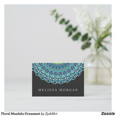 Floral Mandala Ornament Business Card #mandala #floral #businesscard #businesscards #ornament #yoga #yogainstructor #meditation #MandalaBusinessCard #lifestyle #mandalaart #art #artist #designer #design #CardDesign #BusinessCardTemplate #flower #bohemian