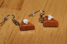 Free shipping pumpkin pie earrings polymer clay by MarysRemedies, $5.00