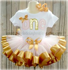 Custom First Birthday Tutu Outfit with ONE by PurpleDaisyBoutique