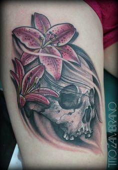 My latest tattoo - thigh tattoo skull and lilies. Artist - Tito Zambrano