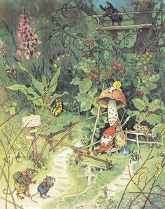 "by Fritz Baumgarten (Once again, I overlook my ""gnome issues"" for the adorable mice.  Plus, I love the garden lizard!)"