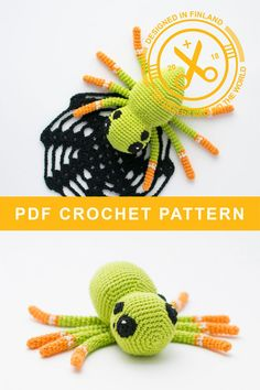 Nelli the spider - Pattern Crochet Food, Easy Crochet, Knit Crochet, Halloween Crochet Patterns, Crochet For Beginners, Diy Toys, Amigurumi Patterns, Handmade Toys, Crochet Projects