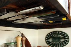 Under Cabinet Knife Rack by localkitchenblog: Great idea! #Knife_Storage #localkitchenblog