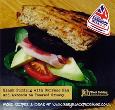 Bury Black Pudding with Serrano Ham and Avocado on Toasted Crusty. Serrano Ham, Black Pudding, Good Enough To Eat, Pudding Recipes, Bury, Avocado, Sandwiches, Toast, Meals