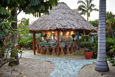 Bar Full at Dusk Chabil Mar Resort in Belize
