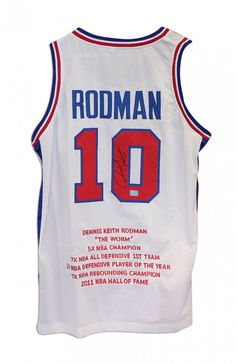 2f77fa324 AAA Sports Memorabilia LLC - Dennis Rodman Detroit Pistons Autographed  White Throwback Jersey With his Career