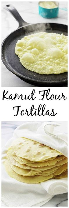 tortillas made with wholesome kamut flour. No yeast required and very fast and easy to make