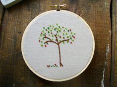 beaded apple tree embroidery via sewjenaissance Quilt Block Patterns, Pattern Blocks, Quilt Blocks, Cross Stitching, Cross Stitch Embroidery, Little Stitch, Tree Quilt, French Knots, Apple Tree