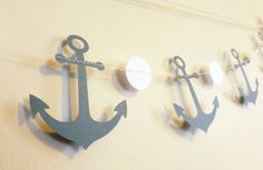 Anchors Gray Paper Garland  Nautical Baby by SassyPantsNebraska