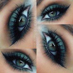 Dark eye makeup for green eyes