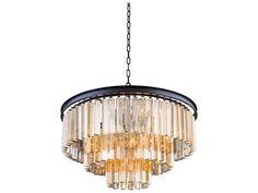 Elegant Lighting Sydney Mocha Brown & Golden Teak Crystal Nine-Lights 26'' Wide Pendant Light