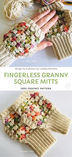 to crochet mittens Fingerless Granny Square Mitts Free Crochet Pattern Crochet Mittens Free Pattern, Fingerless Gloves Crochet Pattern, Fingerless Mittens, Crochet Stitches, Free Crochet, Knitting Patterns, Crochet Patterns, Free Knitting, Knitting Projects