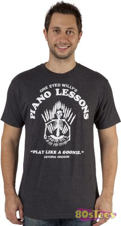 This Goonies Shirt features a fictitious logo for One Eyed Willy's Piano Lessons.