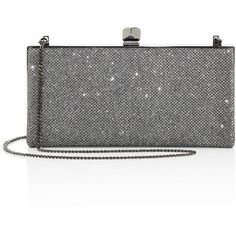 Jimmy Choo Celeste Glitter Clutch (8 875 SEK) ❤ liked on Polyvore featuring bags, handbags, clutches, anthracite, apparel & accessories, chain-strap handbags, clasp purse, chain handle handbags, jimmy choo and clasp handbag