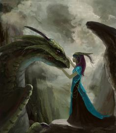 This has Zosime written all over it! The gentle touch, the dragon expression, and the setting are all perfect. Zosime meeting a young dragon for the first time, or perhaps the offspring of Mortecye. A girl and her dragon Magical Creatures, Fantasy Creatures, World Of Fantasy, Fantasy Art, Fantasy Wesen, Dragon Oriental, Dragons, Dragon's Lair, Female Dragon