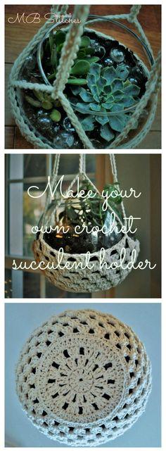 Crochet succulent holder - free pattern