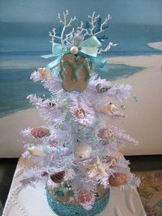 Seashell Christmas Tree White Pine Coastal by CeShoreTreasures