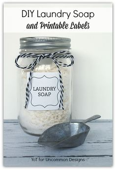 DIY Laundry Soap and Printable Labels from http://yesterdayontuesday.com #masonjars #laundrysoap #diylaundrysoap