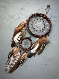 Dream catcher Birthday Gift Willow dreamcatcher Brown dreamcatcher Natural dreamcatcher Native American Wall Hanging Indian talisman – Famous Last Words Grand Dream Catcher, Dream Catcher Craft, Large Dream Catcher, Dream Catcher Mobile, Owl Feather, Feather Crafts, Rooster Feathers, Pheasant Feathers, Dream Catcher Native American