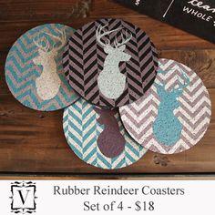 Vintage Charm - Rubber Reindeer Coaster