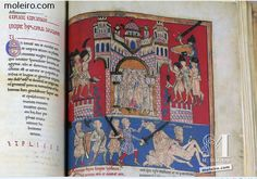 The Cardeña Beatus is the most beautiful codex in the later series featuring the Commentaries on the Apocalypse by Beatus http://www.moleiro.com/en/beatus-of-liebana/cardena-beatus.html