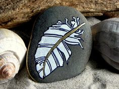 Peace Feather / Painted Stone/ Sandi Pike by LoveFromCapeCod