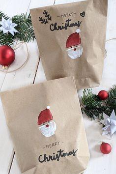 Weihnachten basteln: Geschenktüten bedrucken kann man ganz einfach mit einem Kartoffeldruck Stempel. Der Weihnachtsmann Kartoffeldruck lässt sich auch gut zum Weihnachtskarten basteln oder Geschenkpapier bedrucken verwenden.