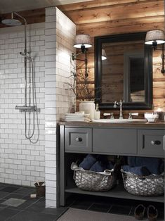 Cabin bathrooms, wooden bathroom и bathroom. Grey Bathrooms, Master Bathroom, Basement Bathroom, Bathroom Small, Bathroom Modern, Bathroom Sinks, Bathroom Cabinets, Brown Bathroom, Masculine Bathroom