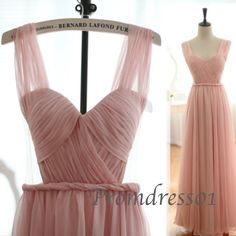 Classy pink chiffon prom dress, long prom dress for teens