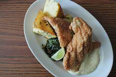 Le Mu | Fried Cornmeal Catfish, goat cheese & Thai basil grit cake, garlic & chili chard,  green curry tartar sauce #hrva #vafoodies #virginia