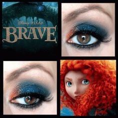 Princess Merida inspired eye makeup smokey blue red pink dark and day time Disney Character Makeup, Disney Eye Makeup, Disney Inspired Makeup, Disney Princess Makeup, Maquillaje Halloween, Halloween Makeup, Makeup Art, Makeup Tips, Makeup Ideas
