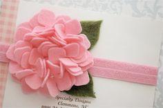 Felt Flower Headband in Pink Hydrangea - Newborn Baby Headbands to Adult