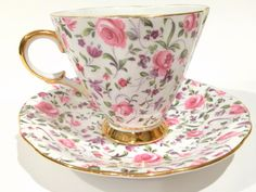 Rosebud Chintz Tea Cup and Saucer, Tea Set, Clarence Tea Cup, Chintz Tea Cups, Tea Sets, Antique Tea Cups, Bone China Cups, Tea Set