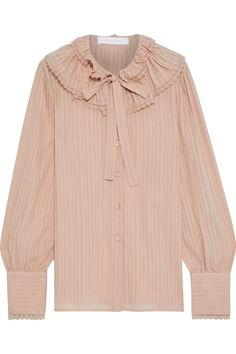 Blush Pussy-bow ruffled cotton-jacquard blouse | Sale up to 70% off | THE OUTNET | SEE BY CHLOÉ | THE OUTNET Skirt Pants, Jacket Dress, Long Tops, Long Sleeve Tops, Chloe Clothing, Crocheted Lace, Beach Wear Dresses, See By Chloe, Cotton Blouses