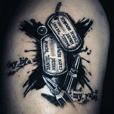 Abstract Dog Tag Tattoo Ideas For Men
