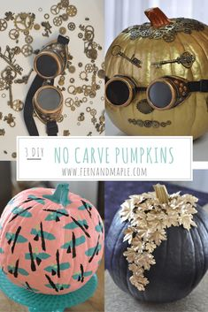 3 quick DIY no carve pumpkin decorating ideas for Halloween! #diy #halloween #pumpkincarving #fallideas