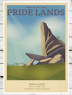 Disney Pride Lion King Retro Travel Print - home sale Vintage Disney Posters, Vintage Travel Posters, Lion King Poster, Children's Films, Movies, Magic For Kids, Pride Rock, Disney Silhouettes, Disney Love