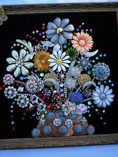 Flower basket, Costume jewelry and Folk art on Pinterest