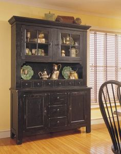 Attic Heirlooms China Base with China Door Hutch - Black, Broyhill, Attic Heirlooms