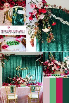 Emerald Wedding Theme, Fuschia Wedding, Blush Wedding Colors, Wedding Color Schemes, Kelly Green Weddings, Emerald Green Weddings, Green Party Decorations, Wedding Ideas, Wedding Table