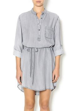 Grey shirt dress with a tie at the waist, collar, and sleeves that can be worn down or buttoned up.    Shirt Style Dress by Tribal Jeans. Clothing - Dresses - Casual Saratoga, Wyoming