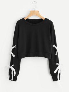 Romwe Eyelet Lace Up Sleeve Crop Sweatshirt