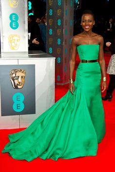 Lupita Nyong'o @ BAFTA Awards in Dior.  Jennifer Lawrence, take notes please.