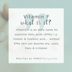 Vitamin F who? Vitamin F my friend is making a come back. This was the name given to essential fatty acids aka linoleic acid and linolenic acid. Now you know them as essential fatty acids or EFAs. When your skin's missing them - it gets dry, flaky, red Beauty Care, Beauty Skin, Beauty Tips, Beauty Hacks, Diy Beauty, Skin Tips, Skin Care Tips, Oily Skin, Sensitive Skin